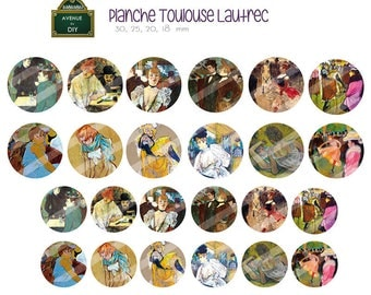 Board of Toulouse Lautrec digital images to create round cabochons (18 30, 25, 20 mm)