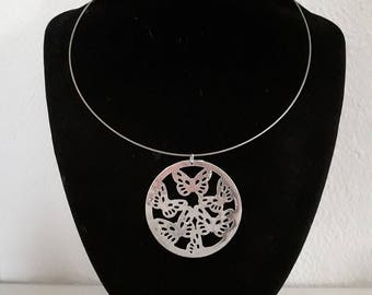 Butterfly theme silver necklace