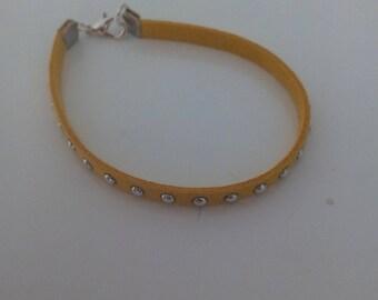 Yellow faux leather with Rhinestone bracelet