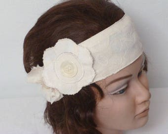 head band lace cream with roundels - fabric flowers