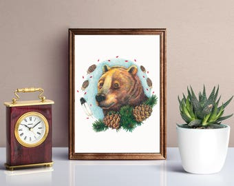 A grizzly bear with cedar cones. Original artwork. Bear art. Portrait. Animal art. Hand-drawn illustration. Colorful pencil drawing. 9x11.8