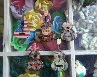 5 buttons guitar buttons multicolor print, 2-hole wood, 36 x 18 x 2 mm, hole: 2 mm