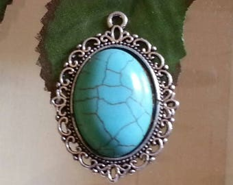 turquoise pendants, synthetic, oval, 39 x 28 x 7 mm, hole: 2 Mantic stone gemstone silver alloy