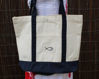 Large canvas shopping bag bag Navy and ecru embroidered fish on the Pocket