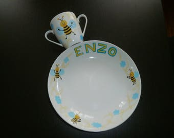 """bees and intertwining"" custom painted porcelain cup & plate"
