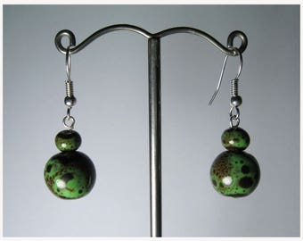 Pearl Earrings ceramic; Green and Brown