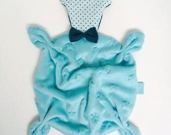 Aqua blue and turquoise bear VELVET baby blanket/plush