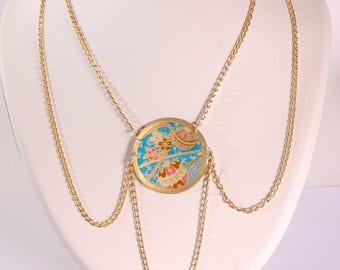 Japanese temari, blue and gold necklace