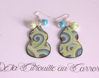 Gourd, green spirals, beads blue and green earrings
