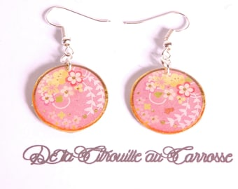 Japanese pattern earrings, pink