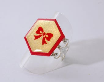 Red and gold Hexagon ring, bow