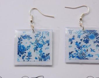 Chinese blue flowers earrings