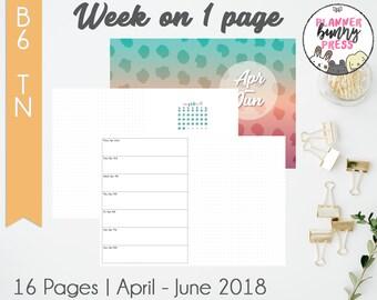 Week on 1 Page Apr - Jun '18 | B6 TN | Digital Download | Travelers Notebook | April May June 2018 WO1P