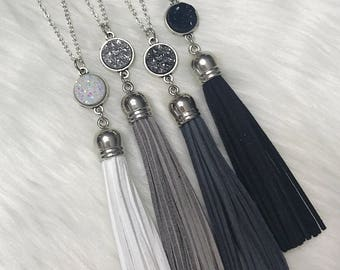 Long Silver Druzy Tassel Necklaces - Neutrals