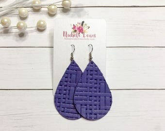 Grape Basket Weave Genuine Leather Earrings