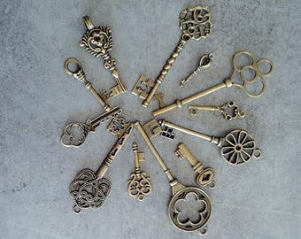 Set of 12 retro and vintage style keys
