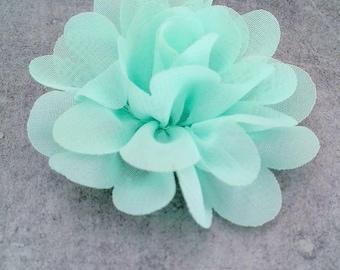 Pretty Mint organza fabric flower