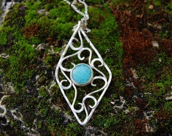Pendant Jewelry Sterling Silver with Aqua marine
