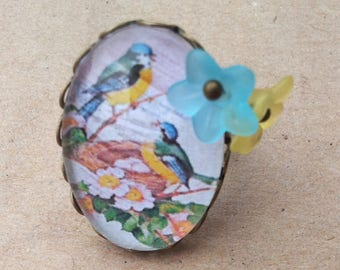 """Chickadees"" - birds charms cabochon ring"