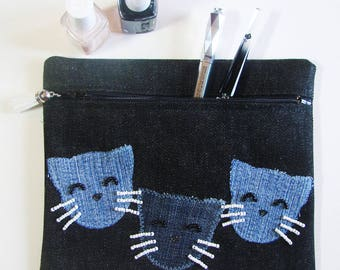 """Noreen"" cat pouch - makeup case"