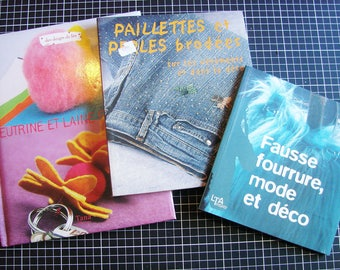 Set of 3 books, craft supplies - sewing, glitter and felted wool