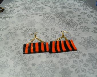 beautiful earrings unique, original, stylish black and orange