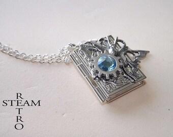 Steampunk necklace, Locket necklace Steampunk Butterfly locket - steampunk locket - silver locket by steamretro book - blue