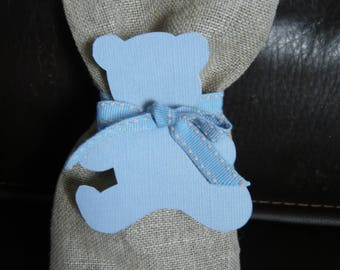 Candy blue bear label linen bag
