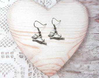 "Pair dangle ""cat"" animal earrings jewelry"