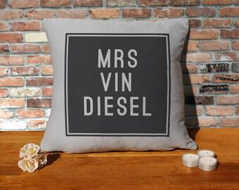 Vin Diesel Pillow Cushion - 16x16in - Grey
