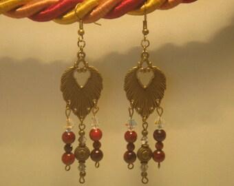 Black cherry red retro earrings