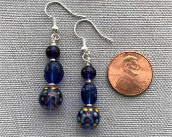 Blue Czech Glass Bead Earrings