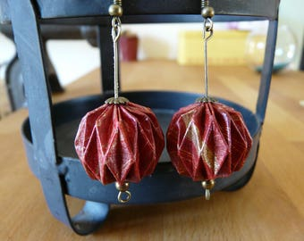 Origami earrings paper balls red purple and gold