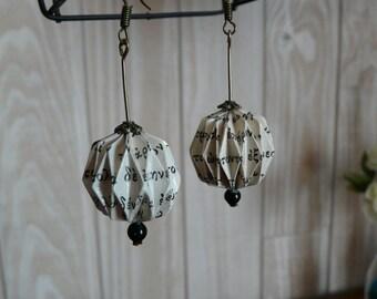 Origami earrings balls Greek writing paper