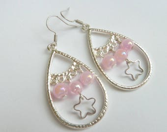 Silver drop earrings and pink beads