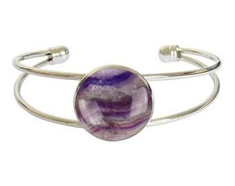 Silver plated cabochon bracelet - fluorite