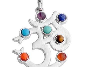 Silver plated - 7 chakras aum pendant