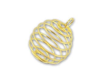 Bird cage bead with ring 15x18mm - gold plated (3 pieces)