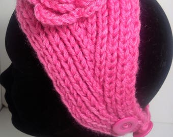 Pink headband ear warmer