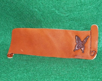 Bookmarks made of leather, customizable with your name, butterfly