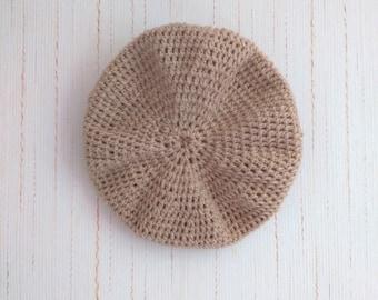 """Crochet hat """"Béret"""" fine baby 9 months / 46cm color Beige/Dune"""