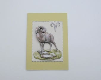 3d greeting card of the Aries zodiac sign