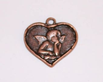 Heart copper charm, 16 mm