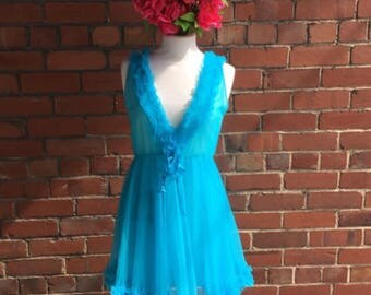 Beautiful Vintage Semi Sheer Powder Blue Babydoll with Ruffles, in Perfect Condition