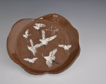 Soft Slap Hand-Build Earthenware Plate with Slips and Inlay Decoration / Clear and Majolica Glaze