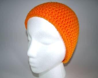 Anime Orange Skull Cap Handmade Crochet Beanie Custom