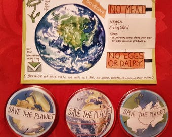 Save the Planet Pack (3 badges + painted postcard)