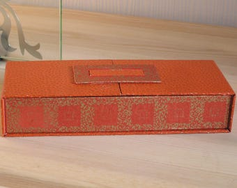 Pencil box old orange