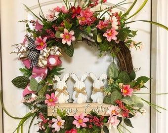 Easter wreath, Spring wreath, Pink floral wreath, front door wreath, wreath with sign