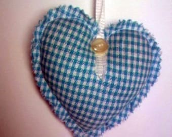 Blue gingham turquoise hanging heart